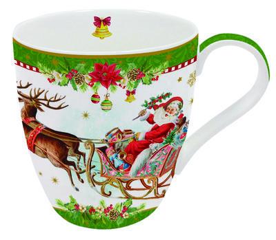 Vánoční hrnek VINTAGE SANTA GREEN 350 ml, Easy Life