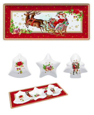 Vánoční set 4ks - Podnos a misky VINTAGE XMAS 36x16 cm, Easy Life