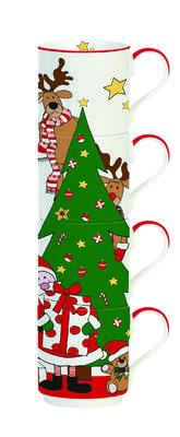 Vánoční set 4ks - Hrnky stohovatelné FRIENDS TREE 275 ml, Easy Life