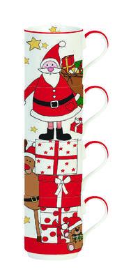 Vánoční set 4ks - Hrnky stohovatelné SANTA & FRIENDS 275 ml, Easy Life