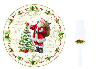 Vánoční set 2ks - Podnos na koláč a lopatka MAGIC CHRISTMAS 32 cm, Easy LifeCHRISTMAS