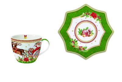 Vánoční šálek & podšálek VINTAGE SANTA GREEN 250 ml, Easy Life
