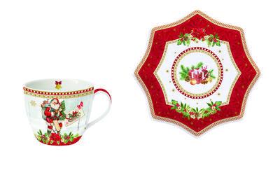 Vánoční šálek & podšálek VINTAGE SANTA RED 250 ml, Easy Life