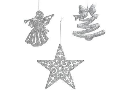 Vánoční ozdoba - Anděl/Hvězda/Stromek - stříbrná, Kaemingk