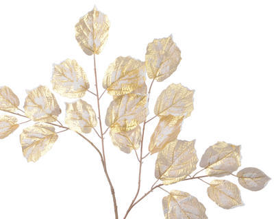 Vánoční dekorace - Větev s listy s glitry 70 cm - zasněžená, Kaemingk