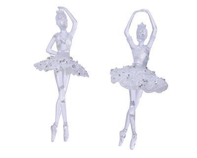 Vánoční ozdoba - Baletka s glitry 17 cm - čirá/stříbrná, Kaemingk