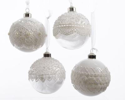 Vánoční ozdoba - Koule LACE 8 cm - transparentní, Kaemingk