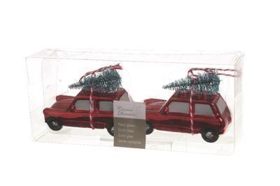 Vánoční ozdoby 2 ks - Auto se stromečkem 10 cm - červená, Kaemingk