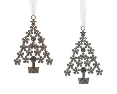 Vánoční ozdoba - Stromeček 10 cm - zlatá/stříbrná, Kaemingk