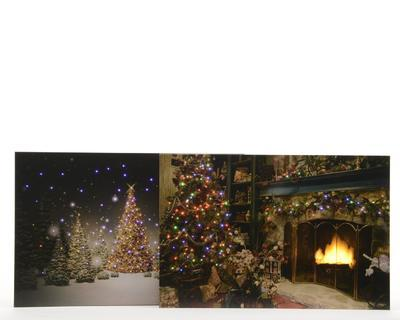 Vánoční LED obraz - Krb a strom / Zimní noc 38x58 cm, Kaemingk