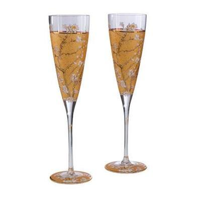Set - Sklenice na Champagne 2ks ARTIS ORBIS V. van Gogh-Almond Tree-200 ml, Goebel