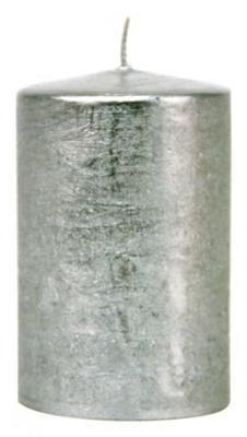 Svíčka válec EMOCIO RUSTIC 50x90 mm - stříbrná, Svíčky UNI