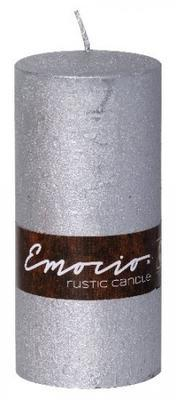 Svíčka válec EMOCIO RUSTIC 70x150 mm - stříbrná, Svíčky UNI