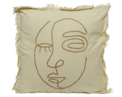 Dekorační polštář FACE, 45x45cm, přírodní, Kaemingk