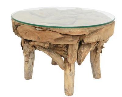Teakový stůl se sklem, cca 60x40cm, Kaemingk