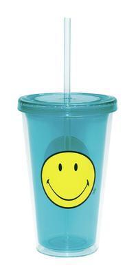 Sklenice s víkem ICE SMILEY 490 ml - modrá, Zak!