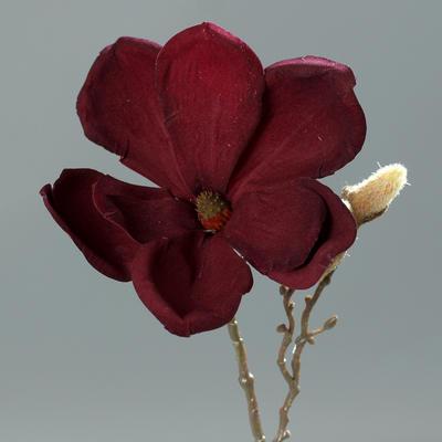 Vánoční umělá větvička MAGNÓLIE 26 cm - burgundy, DPI
