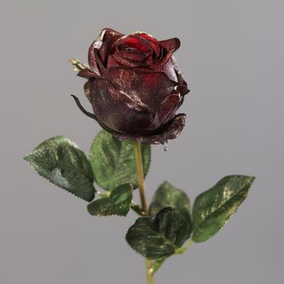 Vánoční umělá květina RŮŽE METALLIC 46 cm - burgundy, DPI