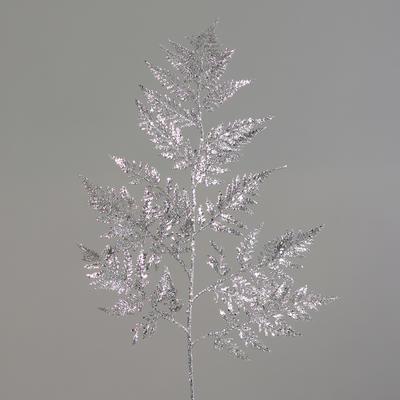 Vánoční umělá větvička KAPRADÍ S GLITRY 77 cm - stříbrná, DPI