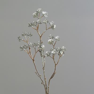 Vánoční umělá větvička SUCCULENT METALIC 51 cm - platinová, DPI