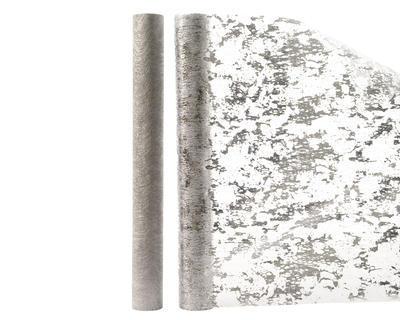Vánoční dekorační tkanina s kovovým vláknem 30x200 cm - stříbrná - 2 druhy, Kaemingk