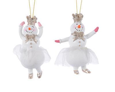 Vánoční ozdoba - Sněhulák s korunkou 9,5 cm - zlatá/stříbrná, Kaemingk