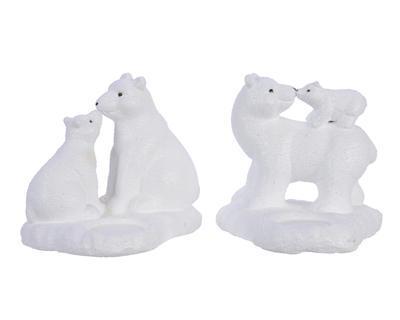 Vánoční svícen - Polární medvěd - bílá, Kaemingk
