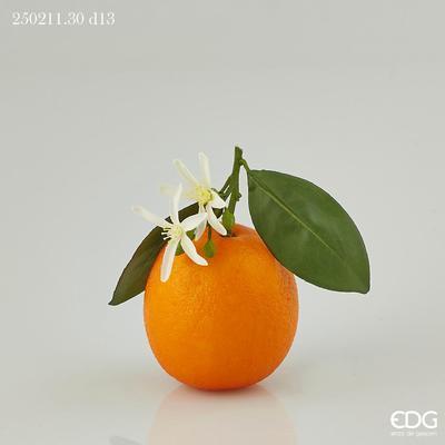 Dekorace POMERANČ S LISTEM 13 cm - oranžová, EDG