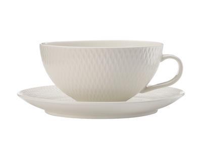 Šálek a podšálek na čaj WHITE BASIC DIAMONDS 250 ml, Maxwell & Williams