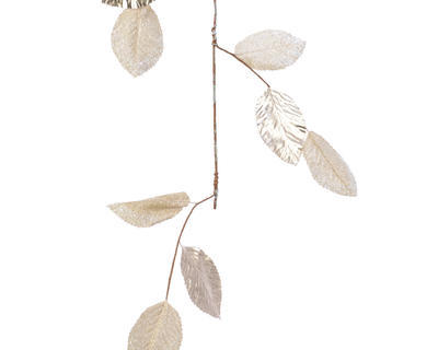 Vánoční girlanda - Listy METALLIC 120 cm - sv. zlatá, Kaemingk