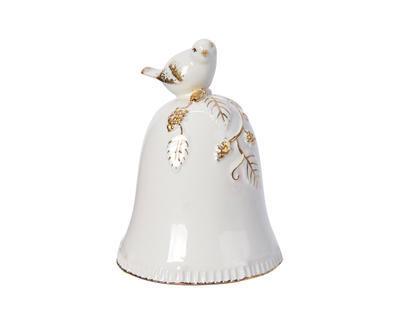 Vánoční dekorace - Zvoneček s ptáčkem 12 cm - bílá/zlatá, Kaemingk