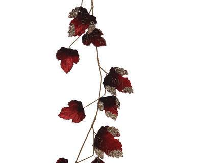 Vánoční girlanda - Břečťan s glitry 120 cm - samet. červená, Kaemingk