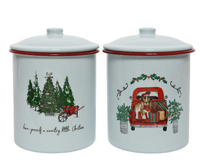Vánoční dóza - XMAS PRINT 15x16 cm - bílá/červená, Kaemingk