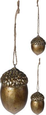 Vánoční ozdoba žalud, zlatý, Koopman