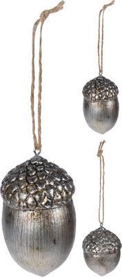 Vánoční ozdoba žalud, stříbrný, Koopman
