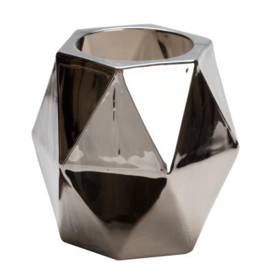 Svícen EDGY 9x9x10 cm - metalická šedá, Wittkemper