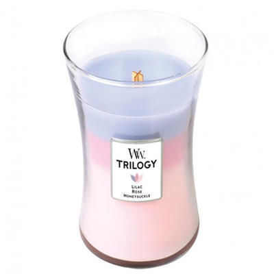 Svíčka vonná TRILOGY - Šeřík, růže a zimolez - 609,5 g, WoodWick