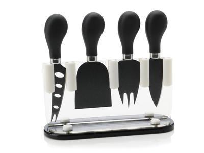 Sada nožů na sýr ve stojanu - černá SLICE & DICE 5 ks, Maxwell & Williams