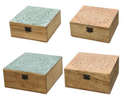 SET 2ks krabiček, mangové dřevo, 2 druhy, Kaemingk