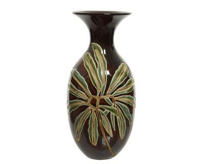 Váza LIST, 37cm, kamenina, tmavě hnědá, Kaemingk