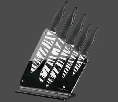 Set nožů ve stojanu 6-dílný černý, Zassenhaus