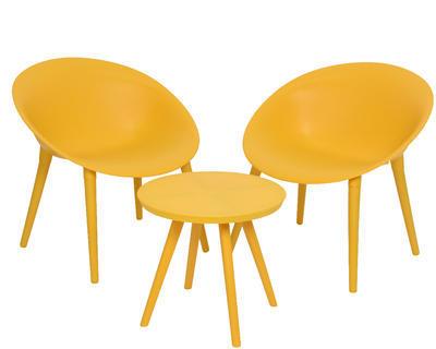 SET 3ks MARBELLA - stolek a židle, žlutý, venkovní, Kaemingk