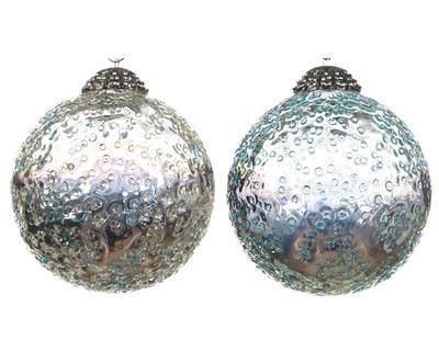 Vánoční ozdoba - Koule zmrzlé tečky 10 cm, Kaemingk
