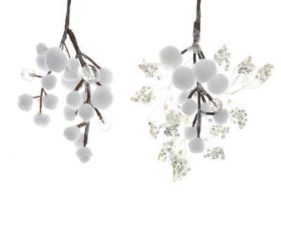 """Vánoční dekorace - Sněhové kuličky """"listky/perličky"""", Kaemingk"""
