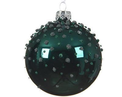 Vánoční ozdoba - Koule s tečkami 8 cm - petrolejová, Kaemingk