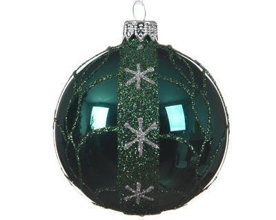 Vánoční ozdoba - Koule s hvězdičkami 8 cm - petrolejová, Kaemingk