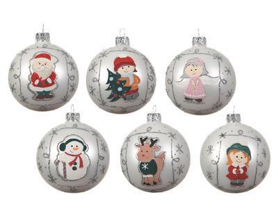 Vánoční ozdoba - Koule figurka 8 cm - stříbrná, Kaemingk