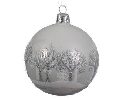 Vánoční ozdoba - Koule se stromy 8 cm, Kaemingk