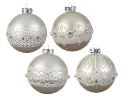 Vánoční ozdoba - Koule BEADS DECO 8  cm - stříbrná, Kaemingk