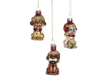Vánoční ozdoba - Pejsek s čepicí 7 cm, Kaemingk